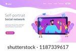 people taking selfie with... | Shutterstock .eps vector #1187339617