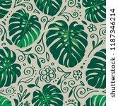 seamless monstera palm leaves... | Shutterstock .eps vector #1187346214