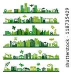 vector green city icons set on... | Shutterstock .eps vector #118735429