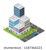 people walking around the city... | Shutterstock .eps vector #1187366221