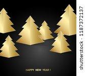 golden fir trees over black... | Shutterstock .eps vector #1187372137