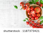 fresh red variety of tomatoes... | Shutterstock . vector #1187373421
