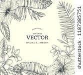 vector vintage tropical floral... | Shutterstock .eps vector #1187385751