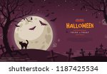 halloween banner with cat at... | Shutterstock .eps vector #1187425534