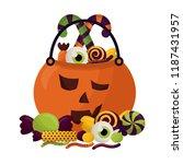 basket halloween pumpkin with... | Shutterstock .eps vector #1187431957