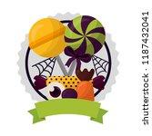 happy halloween circular frame... | Shutterstock .eps vector #1187432041