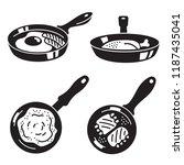kitchen griddle icon set.... | Shutterstock .eps vector #1187435041