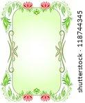 green oval vertical floral frame | Shutterstock .eps vector #118744345