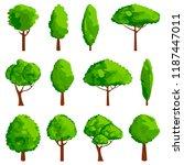 cartoon trees icon set. game...