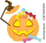halloween pumpkin filled up... | Shutterstock .eps vector #1187449294