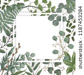 invitation card with leaves ... | Shutterstock .eps vector #1187453284