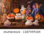 sweets for halloween party on a ... | Shutterstock . vector #1187459104