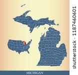 michigan county map vector... | Shutterstock .eps vector #1187460601