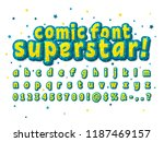 star yellow and blue comic font ... | Shutterstock .eps vector #1187469157