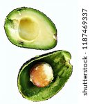 avocado cut in two halves one... | Shutterstock . vector #1187469337
