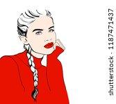 fashion woman sketch woman in... | Shutterstock .eps vector #1187471437