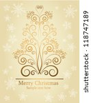 christmas card with holiday tree   Shutterstock .eps vector #118747189