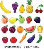 cartoon fruits and vegetables   Shutterstock .eps vector #118747357