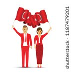 turkey flag waving man and woman | Shutterstock .eps vector #1187479201