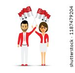 singapore flag waving man and... | Shutterstock .eps vector #1187479204