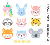 set of vector animals in... | Shutterstock .eps vector #1187479237