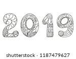 happy new year 2019. hand drawn ... | Shutterstock .eps vector #1187479627