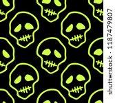 vector halloween doodle skulls...   Shutterstock .eps vector #1187479807