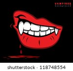 vampire lips with fangs  ... | Shutterstock .eps vector #118748554