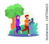 illustration arabian couple... | Shutterstock .eps vector #1187536621
