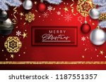 red modern christmas composition   Shutterstock .eps vector #1187551357
