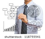 Business hand drawing chart - stock photo