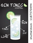 gin tonic cocktail recipe... | Shutterstock .eps vector #1187570494