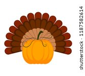 pumpkin with turkey feathers... | Shutterstock .eps vector #1187582614