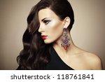 portrait of beautiful brunette... | Shutterstock . vector #118761841