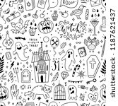 halloween seamless pattern... | Shutterstock .eps vector #1187621437
