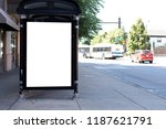 blank billboard at bus station | Shutterstock . vector #1187621791