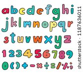 vector set of alphabet and... | Shutterstock .eps vector #1187636011