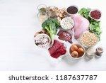 iron rich foods. healthy diet...   Shutterstock . vector #1187637787
