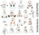 cute polar bear sticker set.... | Shutterstock .eps vector #1187639581