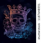 beautiful romantic skull with... | Shutterstock .eps vector #1187648551