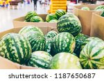 watermelons at store close up.... | Shutterstock . vector #1187650687