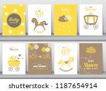 set of baby shower invitation...   Shutterstock .eps vector #1187654914