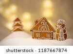 gingerbread winter house with...   Shutterstock . vector #1187667874