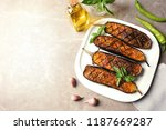 plate with fried eggplant... | Shutterstock . vector #1187669287