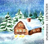 Winter Landscape. Watercolor...