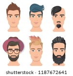 male portrait avatar face set... | Shutterstock .eps vector #1187672641