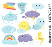 set of cute weather icons with... | Shutterstock .eps vector #1187672647