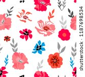 pink and grey floral... | Shutterstock .eps vector #1187698534