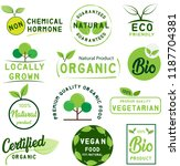 organic food  farm fresh and... | Shutterstock .eps vector #1187704381