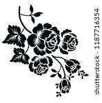 silhouette of rose on a white... | Shutterstock .eps vector #1187716354